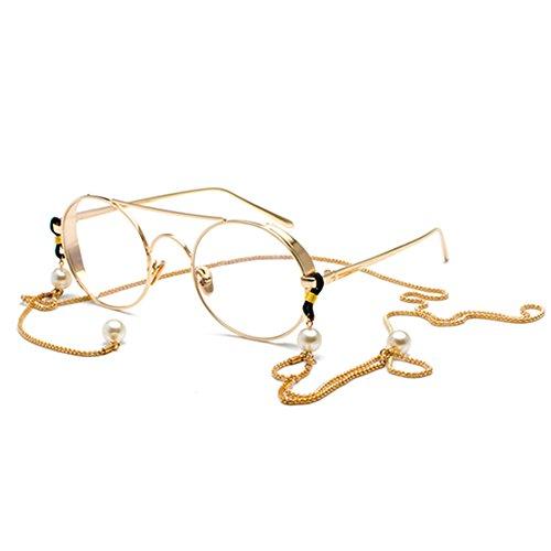 iKulilky Damen Rund Brillen Retro Brille Optische Gläser Eyewear Ohne Stärke Rahmen Brillenfassung Voller Rahmen Metall-Brillen Klare lens Deko-brillen mit Perle hängende Kette