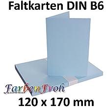 DIN B6 Faltkarten Doppelkarten   Hellblau | 25 Stück | Einladungskarten    Menükarten   Blanko |