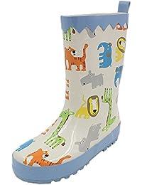 BOZEVON Zapatos de Agua Antideslizantes Casuales para Unisex para Niños Botas de Lluvia de Caucho para Animales al Graffiti Aire Libre