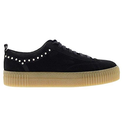 Bronx Womens 65632-A Platform Black Suede Shoes 38 EU