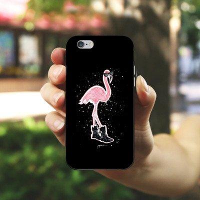 Apple iPhone X Silikon Hülle Case Schutzhülle Flamingo Sonnenbrille Schuhe Silikon Case schwarz / weiß