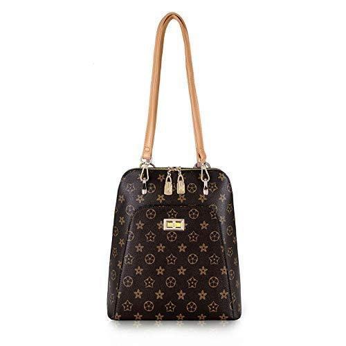 Ldyia Damen Classic Old Flower Rucksack Lady Aktentasche Computer Tasche Reiserucksack Wild Big Bag, Brown -
