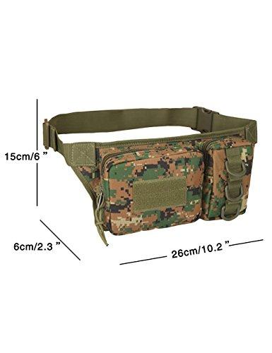 Menschwear Multipurpose Taktische Tasche Gürtel Taille Pack Tasche Military Taille Fanny Pack Telefon Tasche Gadget Geld Tasche Grün Tarnung 1