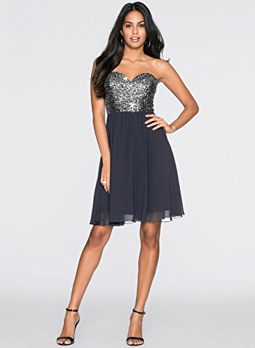 Azbro Women's Sweetheart Strapless Sequins A-line Cocktail Dress Black