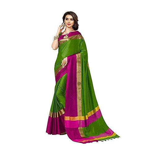 Livas Fashion Women's Cotton Silk Saree with Blouse Piece (Pack Of 5,...
