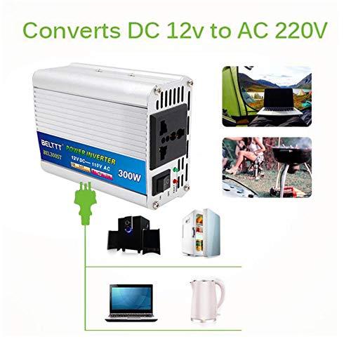 SueSupply Wechselrichter 300 W DC 12 V auf AC 220 V, DC 24 V auf AC 220 V, DC 12 V auf 110 V (optional), Ladekonverter für Kfz, digital, Sinusförmig, geändert über USB (220 Stromversorgung: Bis 110 Konverter)