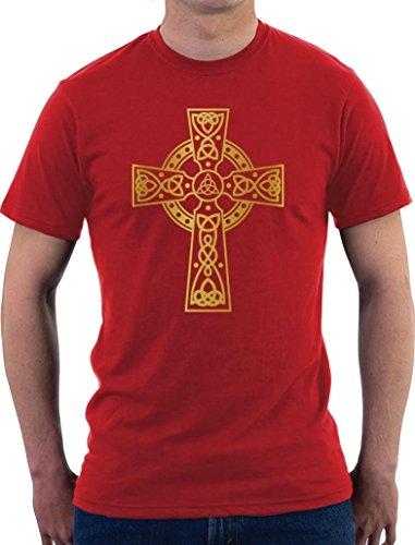 Celtic Cross Motiv T-Shirt Rot