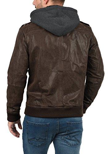 SOLID Ash Herren Lederjacke Echtleder Bikerjacke mit abnehmbarer Sweatkapuze aus 100% Leder Tabacco (5050)