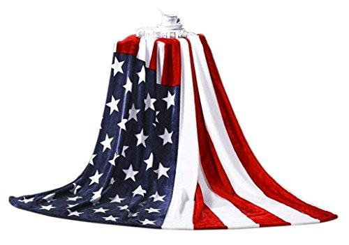 QCHOMEE -Manta (Franela Luxe Manta Microfibra Manta Caliente Bandera Estadounidense Plaids Polar...