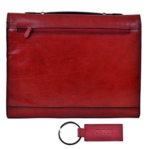 Charmoni in valigetta, con soffietto, 2-Cartella in pelle di vacchetta nuovo Aglae Rosso