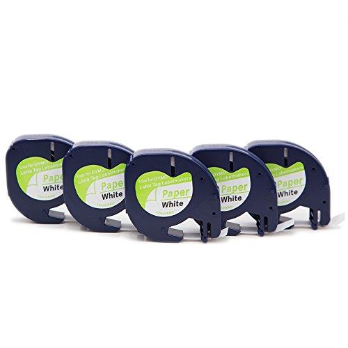 5 Pack Compatible LetraTag 91200 Paper Label Tape 91220 91330 S0721510 Tag Cassette 12mm X 4m Black on White Sticker for LT-100H LT-100T QX50 Label Makers …
