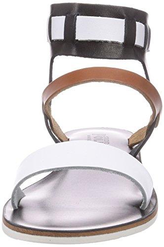 Pollini  W.SANDAL, Sandales pour femme Multicolore - Mehrfarbig (White/hide/black 10A)