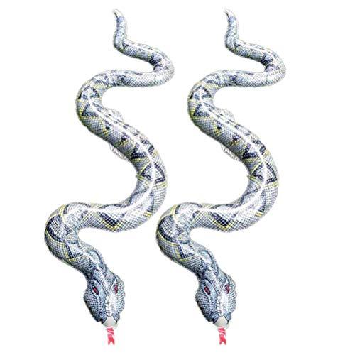 Amosfun 2 stücke Aufblasbare Schlangenspielzeug Scary Snake Prop Simulation Boa Streich Spielzeug für Halloween Trick Party Favors