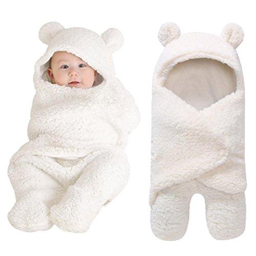 AIMEE7 Recién Nacido bebé Niño Niña Swaddle Abrigo Sleeping Wrap Blanket Fotografía Prop Chaqueta (Blanco, Talla única)