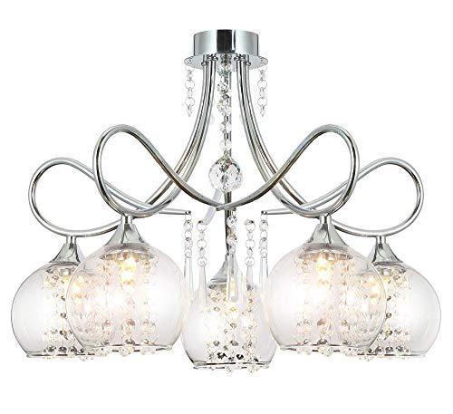 Charmante Kristall Kronleuchter Deckenlampe 5 flammiger Glas Kugel Lüster 54cm 5x 5W ersetzbare Led Leuchtmittel Lewima Sofia