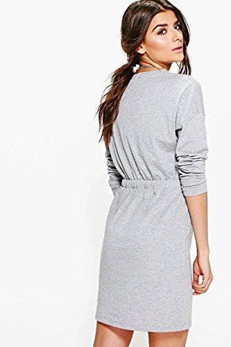 gris Femmes Casey Robe T-shirt À Détail Cordon De Serrage Gris