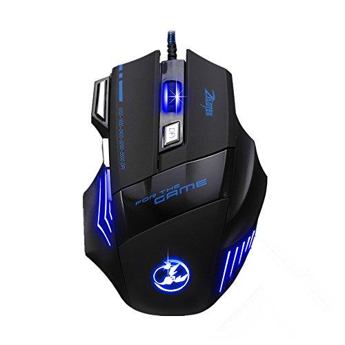 Topop Professionnel 5500 DPI Jeux de Souris Gamer avec Tapis de Souris offert, LED Optique Gaming Mouse 7 Boutons pour Souris Ordinateur portable, joueurs, gamer - 1000 DPI (Rouge)/ 1600 DPI (Vert)/ 2400 DPI (Bleu)/ 3200 DPI (Violet)/ 5500 DPI (Jaune)