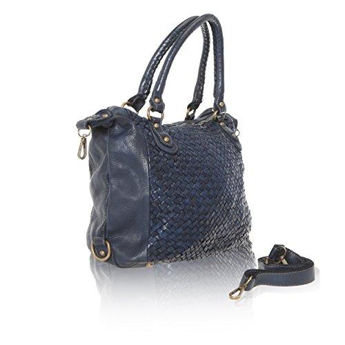 Chicca Borse Linea Vintage - Borsa a Mano Handbag da Donna in Vera Pelle con Intreccio Made in Italy - 35x26x12 Cm Blu Navy