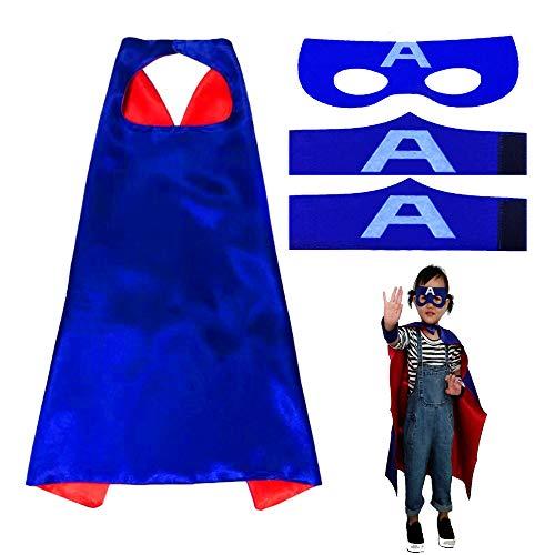 JUN-H Superhelden Kostüme für Kinder, Superhero Armband Capes Superhelden Umhang Maske Filz Masken für Party, Geburtstag, Halloween, Karneval, Fasching, Blau- A