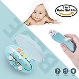 Elektrisches Baby Nagelfeile,USB-Ladevorgang, Nagelknipser Set 9 in 1,Baby Maniküre/Pediküre Set,Baby Nagelpflege mit LED Licht für Neugeborene, Kleinkind und Mom Zehen und Fingernägel(Blau)