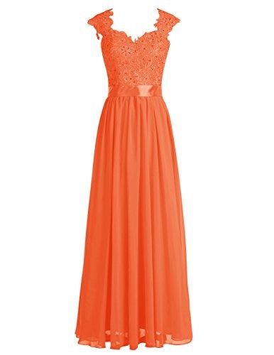 Dresstells Robe de soirée Robe de cérémonie en mousseline dentelle forme empire longueur ras du sol Orange