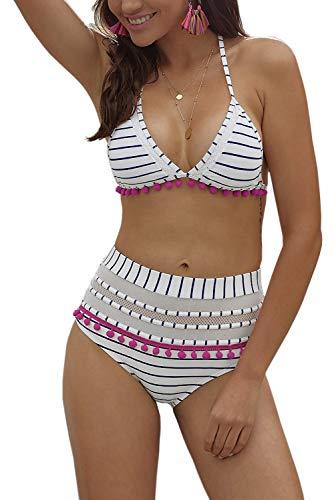 Bequemer Laden Bikini High Waist Damen Zweiteiliger Bikini Set Hohe Taille Bikinihose mit Gepolstert Bikinioberteil Blau XL