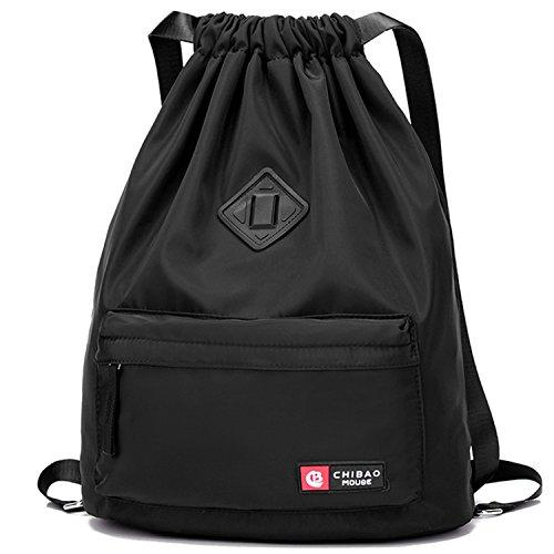 Wandf Der wasserdichte Schwarz Rucksack mit teleskopischem Schulterriemen, für Einkauf und Sport Yoga,Schwarz