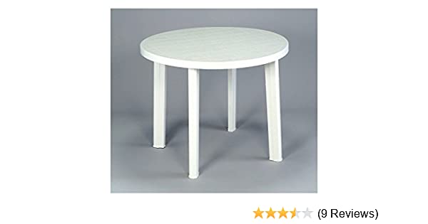 Ouse Valley Round Garden Table Only White Resin Patio Furniture