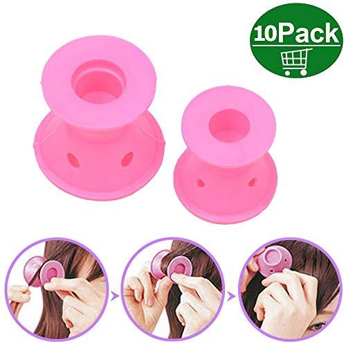 Pink Rulos de silicona mágicos sin rulos de calor Rodillos de silicona para el cabello Rizadores de pelo de silicona Sin clip Sin calor Rizadores de pelo de
