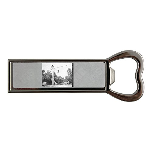 A boy is having fish in his fishing rod. Stainless steel bottle opener and fridge magnet