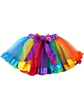 Bambini Ragazze Gonna Arcobaleno Tulle Tutu Mini Abito Natale Abbigliamento Vestito