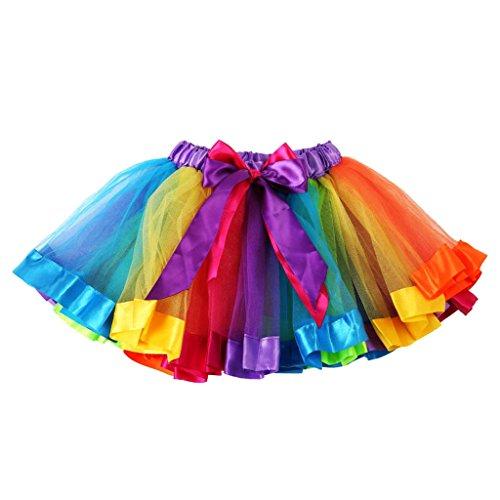 Kinder Reizenden Bunten L Regenbogen Tüll Tutu Minikleid Tutu Mädchen - l
