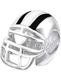 Casco Rugby para pulsera - broche de plata de ley tipo Pandora cuenta de cinta para