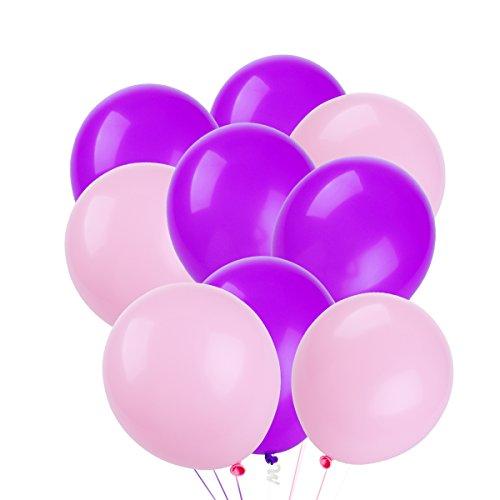 NUOLUX Latex Luftballons, 3,2 g rosa lila Luftballons für Geburtstags Hochzeitsfest, 50 Stück