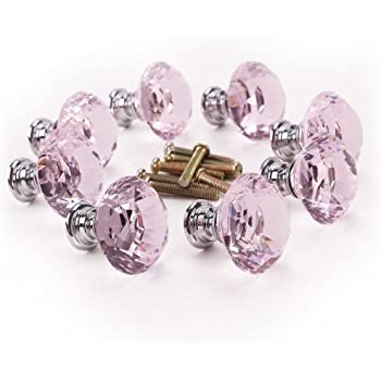 Perfect 8 X 30mm Diamond Clear Cut Pink Crystal Glass Door Knobs Kitchen Cabinet  Drawer Handle New