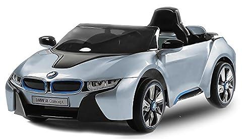BMW i8 Luxus Kinder Elektro Akku elektrisch Cabrio Sportwagen Spyder Cross Dirt Pit Bike 2x 35W 12V FERNSTEUERUNG (blau)