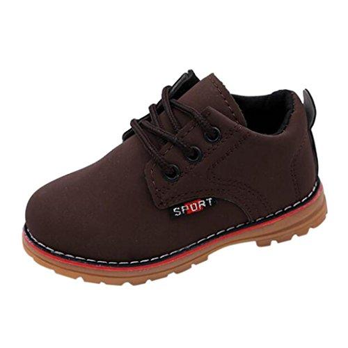 URSING Kinder Rutschfest Martin Sneaker Stiefel Mode schnüren sich oben Baby Jungen Mädchen Freizeitschuhe Kinder Freizeit Schuhe Lederschuhe (24, Braun)