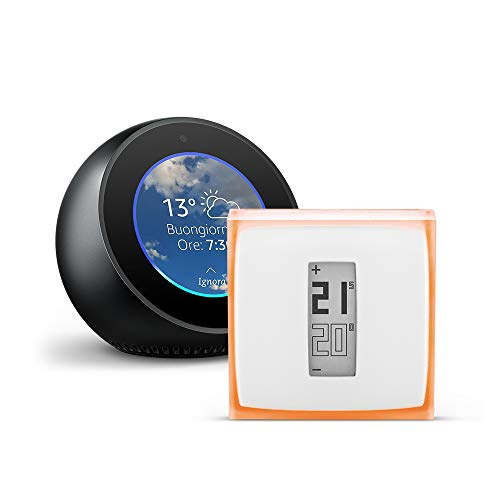 Amazon Echo Spot, Nero + Termostato Intelligente Netatmo