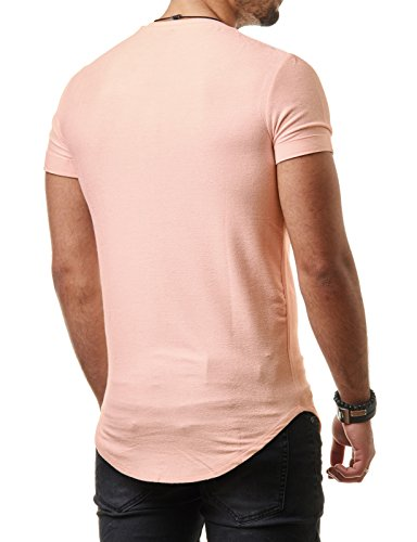 EightyFive Herren T-Shirt Long Oversized Shirt Basic Unifarben EF1208 Stone Pink