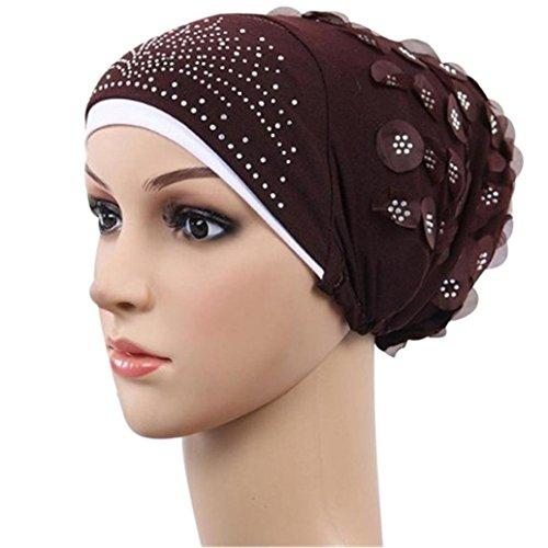 KanLin Muslim Stretch Turban Mütze Haare Mütze Kopf Schal Wrap Cap (Mädchen Glitzer Silber Handschuhe Weiß)