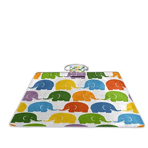 Bennigiry Manta de picnic para exteriores, diseño de elefantes coloridos, extra grande,...