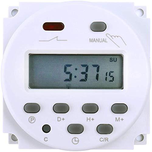 FAVOLCANO elektronischer Timer Zeitschalter, DC12V 16A, 17 Programme programmierbar, LCD Display