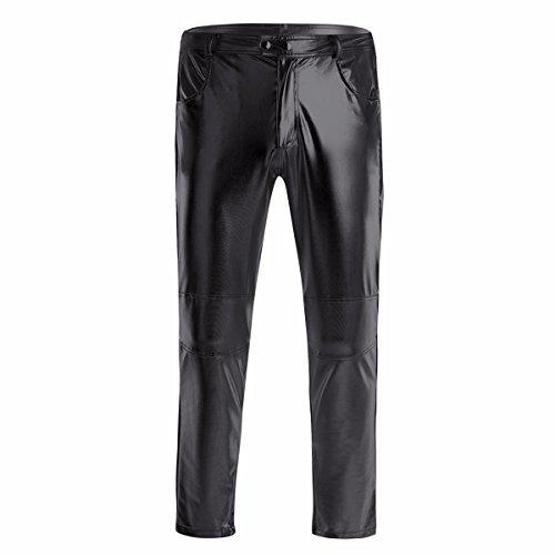 YiZYiF Glänzende Herren Slim Fit Soft PU Faux Leder Biker Hose Trachtenlederhose Trachtenlederhose Lederhosen Schwarz X-Large (Herren-leder-motorrad-hose)
