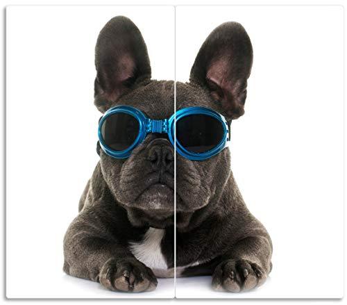 Wallario Herdabdeckplatte/Spritzschutz aus Glas, 2-teilig, 60x52cm, für Ceran- und Induktionsherde, Cooler Hund mit Sonnenbrille in blau - Französische Bulldogge