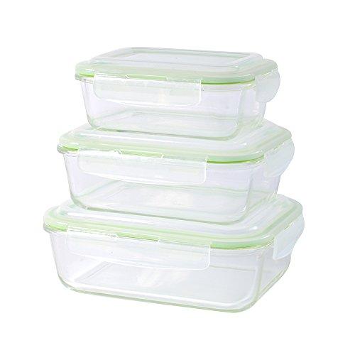 ProCook Ofenform aus Glas, Frischhaltebehälter mit Deckel, 3-teiliges Set