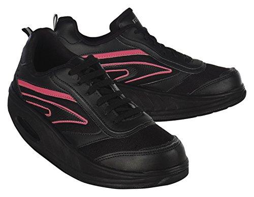 Fitness Step Neon Pink - Zapatillas tonificadoras para Mujer, Color Negro/Rosa, Talla 36