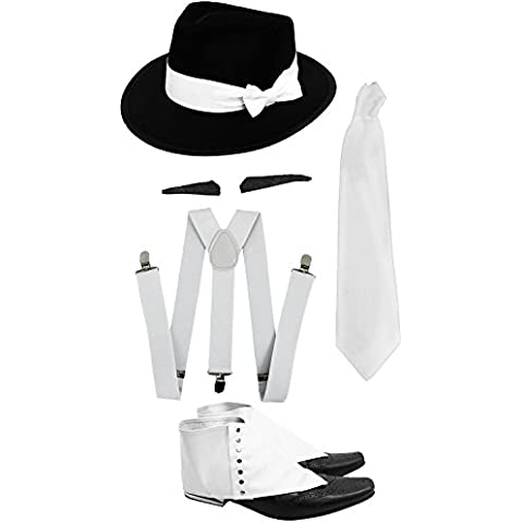 Conjunto Gangster del vestido de lujo del traje de accesorios Kit, Blanco Tirantes, el lazo blanco, Spiv del bigote, polainas y Negro Triby sombrero de Fedora