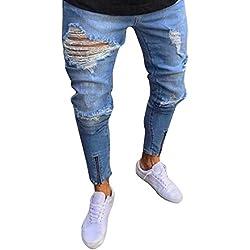 Pantalones vaqueros largo Rotos hombres,Sonnena Hombres Denim rotos Pantalones rasgado Slim Fit motocicleta Estilo Urbano Shorts pies jeans hiphop streetwear pantalones