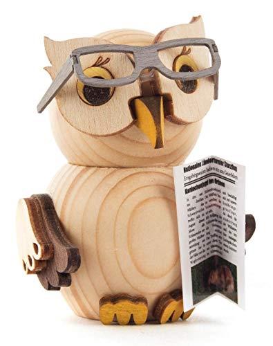 Kuhnert Mini-Eule mit Brille Dekofigur Original Erzgebirge Handarbeit Holzfigur Eule in modernem Design Weihnachtsdeko Dekofigur für Weihnachten Sammlerfigur Eule