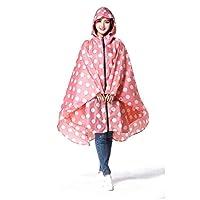 FMDD Womens Hooded Zip Up Waterproof Active Outdoor Rain Jacket Raincoats Lightweight Poncho (Pink Polka Dot)